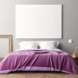 Blank poster on bedroom wall. 3d illustration Stock Image