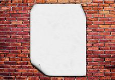 Blank poster on brick wall Royalty Free Stock Photos
