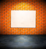 Blank poster on the brick wall Stock Images