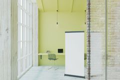 Blank poster in eco office. Blank white poster in eco style light office with brick and glass walls.3D render Royalty Free Stock Photo