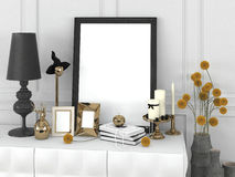 Blank poster in the frame and decorative elements in a classical style on a table. 3d illustration Royalty Free Stock Images