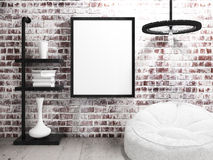 Blank Poster Frame hanging on industrial brick wall Royalty Free Stock Photo