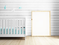 Blank Poster Frame with turquoise nursery interior Stock Photo
