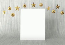 Blank poster with hanging golden balls and stars ornaments on curved wooden background. For new year or christmas theme. 3D render Stock Image