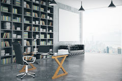 Blank poster in loft private office with book case, leather sofa Royalty Free Stock Image