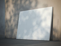 Blank poster near the wall. 3d rendering Stock Images