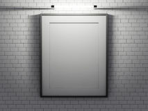 Blank poster in room with wall. Mock up, 3D. Rendering Stock Photos