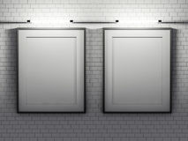 Blank poster in room with wall. Mock up, 3D. Rendering Royalty Free Stock Images