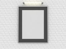 Blank poster in room with wall. Mock up, 3D. Rendering Royalty Free Stock Image