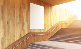 Blank poster and stairs. Blank poster on wooden wall and concrete stairs. Mock up, 3D Rendering Royalty Free Stock Images