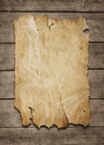 Blank poster at wooden background stock images