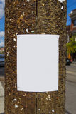 Blank poster on a wooden post Royalty Free Stock Photography