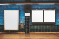 Blank posters mockup in a subway royalty free stock photography