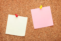 Blank postit notes on cork notice board Stock Images