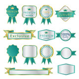 Blank Premium label and budges luxury green and silver Royalty Free Stock Photography