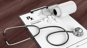Blank prescription form with bottle of pills and stethoscope Royalty Free Stock Photography