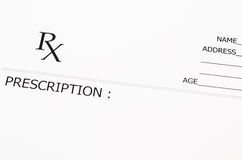 Blank prescription form. stock photos