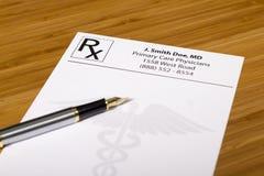 Blank Prescription on a medical desk Royalty Free Stock Image