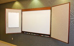 Blank Presentation Board. Blank white presentation board and bulletin board - ready for copy Stock Images
