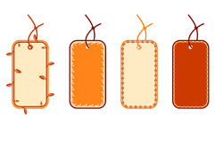 Blank price tags. Four blank price tags with strings stock illustration