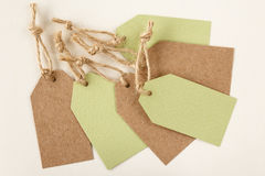 Blank price tags or labels in light green and brown Royalty Free Stock Image