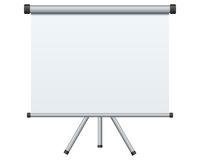 Blank Projection Screen. Blank portable projection screen, isolated on white background. Eps file available Stock Images