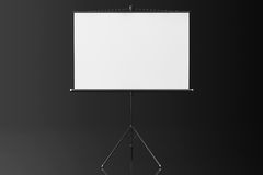 Blank Projection Screen. On a black background Stock Photos