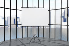 Blank Projection Screen. In front of windows Royalty Free Stock Images