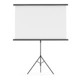 Blank Projection screen. Isolated on white. Place your images or texts. Template for design. 3D illustration royalty free stock photo