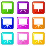 Blank projection screen set 9. Blank projection screen icons of 9 color set isolated vector illustration Royalty Free Stock Images