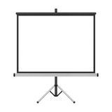 Blank projector screen with tripod isolated for presentation in Stock Images