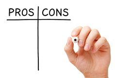 Blank Pros And Cons List. Hand writing Pros and Cons list with black marker on transparent wipe board isolated on white Stock Images