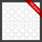 Blank Puzzle in Frame. White, blank jigsaw puzzle with red banner, 100 pieces Stock Image