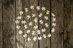 Blank puzzle pieces placed in a circle Royalty Free Stock Photography