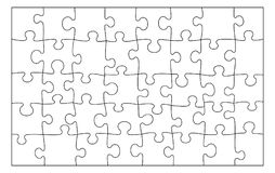 Free Blank Puzzle Texture. Black Lines On White Background. Stock Photo - 125201100