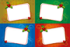 Blank ram för fyra julkort med mistletoen Arkivbilder