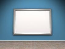 Blank ram på den blåa väggen i lokalen stock illustrationer