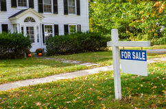 Blank Real Estate Sign in front of a House on Sale Stock Image