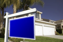 Blank Real Estate Sign and House Stock Images