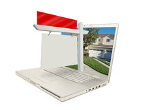 Blank Real Estate Sign & Laptop Stock Image