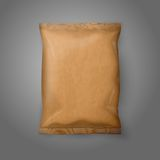 Blank realistic craft paper snack pack isolated on Royalty Free Stock Image