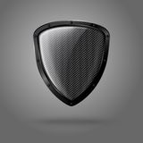 Blank realistic glossy shield with carbon texture Royalty Free Stock Photo