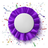 Blank, realistic, purple fabrick award ribbon Stock Image