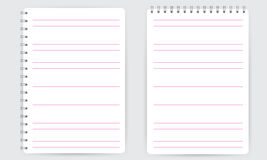 Blank realistic spiral notepad notebook with lines isolated vector Royalty Free Stock Photo