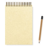 Blank realistic spiral notepad notebook and pencil  Stock Images