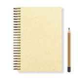 Blank realistic spiral notepad notebook and pencil  Royalty Free Stock Photos