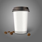 Blank realistic vector paper coffee cup with beans Royalty Free Stock Photography