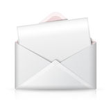 Blank realistic vector white opened envelope and Royalty Free Stock Image
