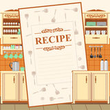 Blank for a recipe. On the background of the kitchen environment Royalty Free Stock Photo