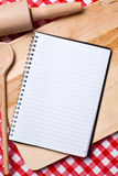 Blank recipe book. With wooden spoon Stock Photography